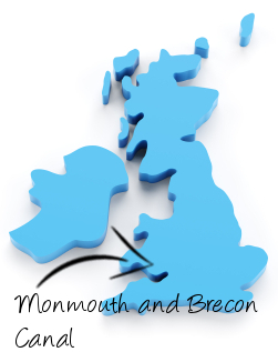 Monmouth & Brecon Canal on map